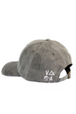 Grey textured curved brim hat with small embroidered VATA logo on the back left