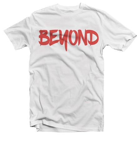 White and Red Short Sleeve Tee