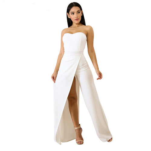 Women's  Asymmetric Split Leg Strapless Jumpsuit