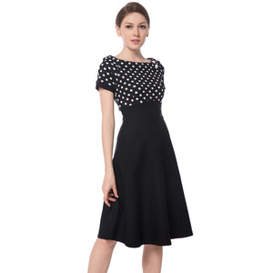 Women's Boat Neck Short Sleeve Cocktail Dress