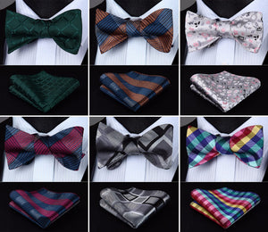 Men's Silk Self BowTie With Pocket  Square Handkerchief Set