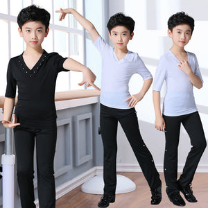 Kids Ballroom Dance V-neck T-shirt and Pants Costume Set