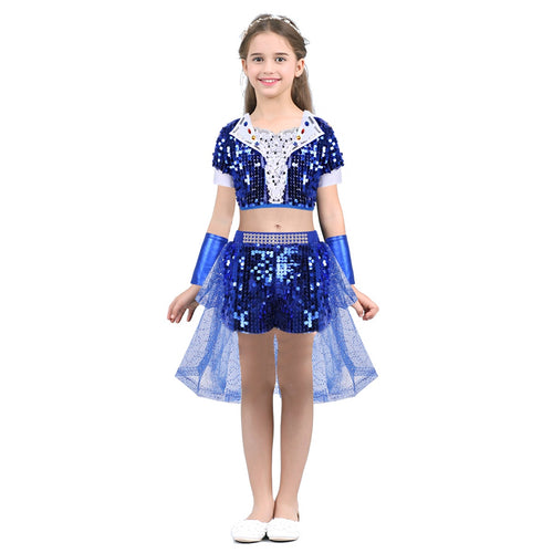 Kids Girls Crop Top with Shorts for Jazz Dance Costume