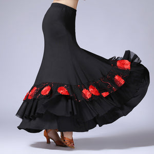 Flamenco Skirt with Lace and Embroidery
