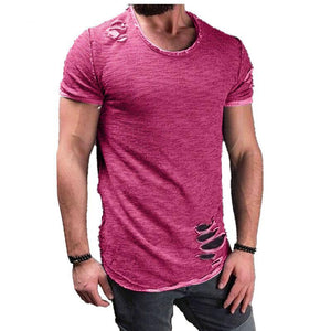 Ripped Men Slim Fit T-Shirt O Neck