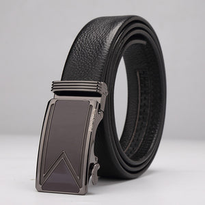 Men's Black Cowskin Automatic Buckle Belt