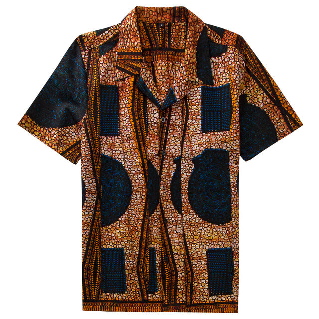 Men's African Cotton Vintage Polo Shirt