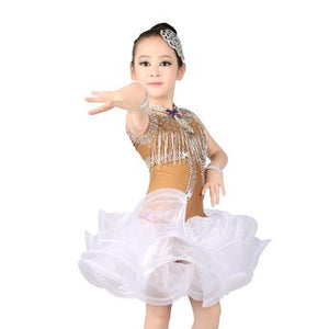 Girls Shinny Tassels Competition Costume