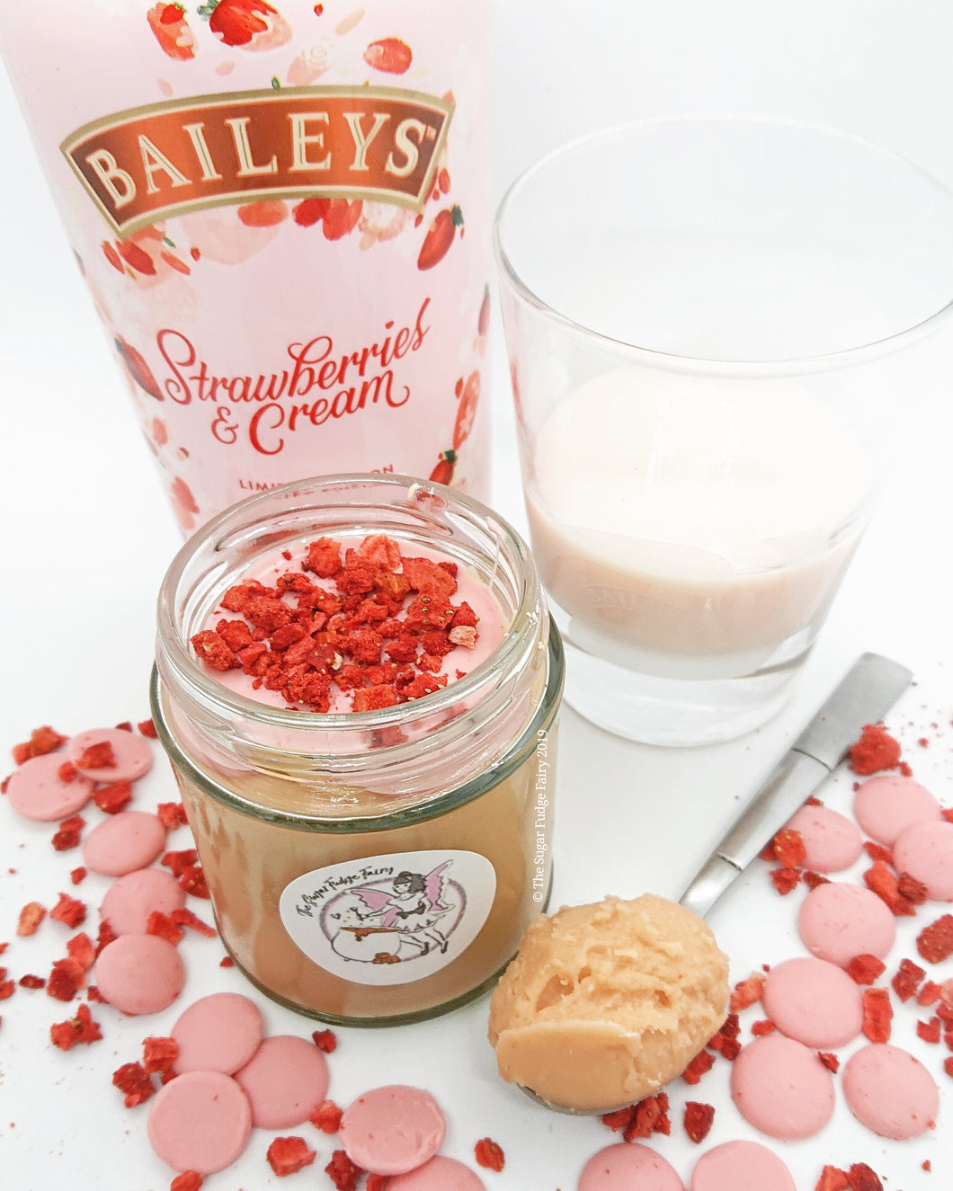 Strawberries and Cream Irish Cream Fudge Jar (Ready to go now)