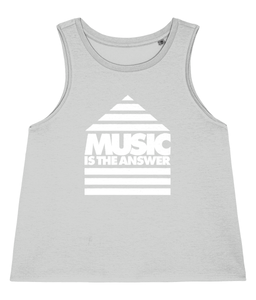 Women's Dancer Vest Music Logo White