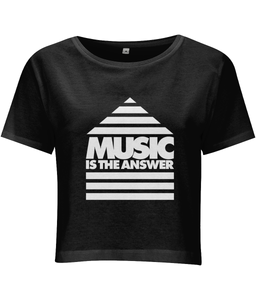 Women's Cropped T-shirt Music Logo White