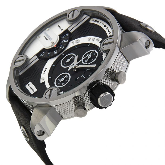 Diesel DZ7256 Little Daddy Silver Stainless Steel Black Leather Strap Men s  Watch a3cd9e174c