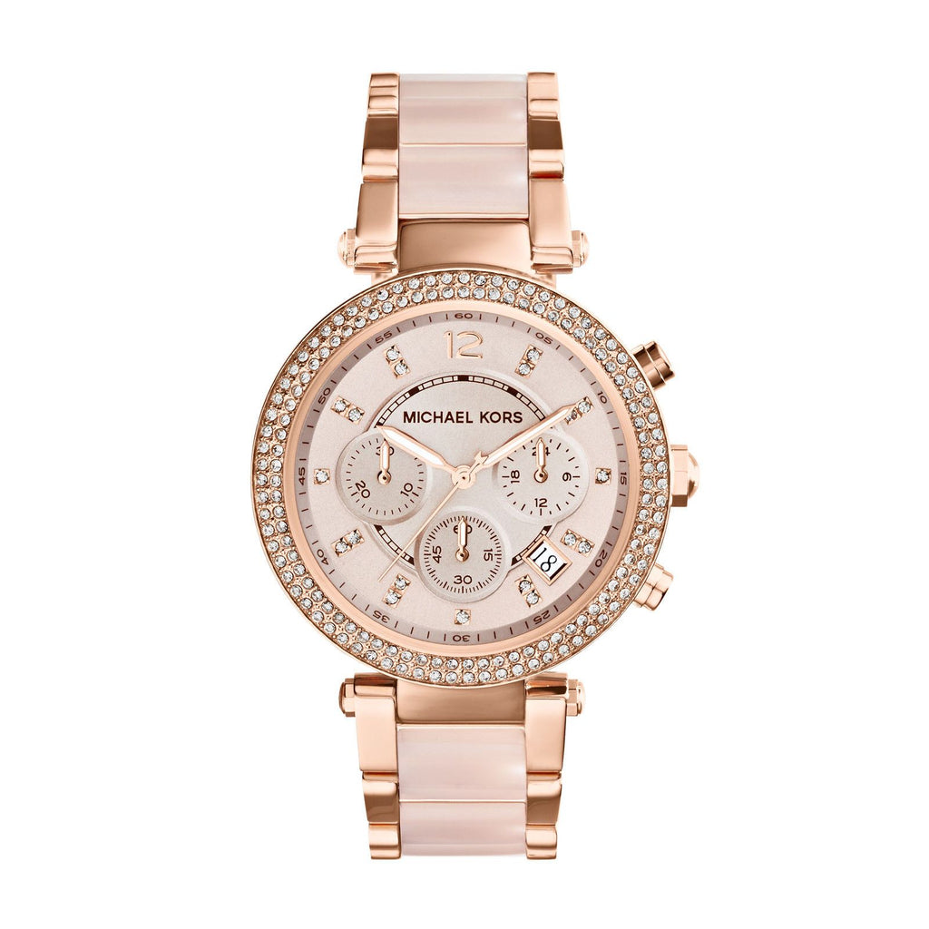 5ccd894892da Michael Kors Parker MK5896 Rose Gold Crystal Dial Rose Gold and Rose Acetate  Bracelet Watch Ladies