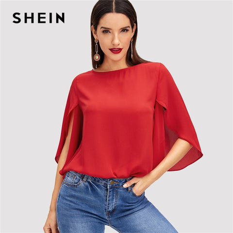 7df691e7a2a SHEIN Red Elegant Office Lady Butterfly Sleeve Split Trim O-Neck Solid Blouse  2018 Autumn