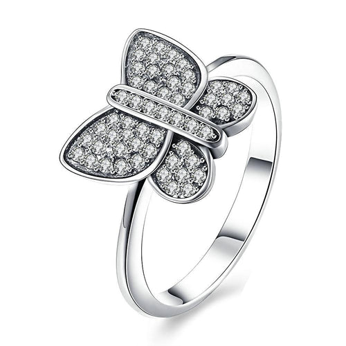 The butterfly shaped silver ring