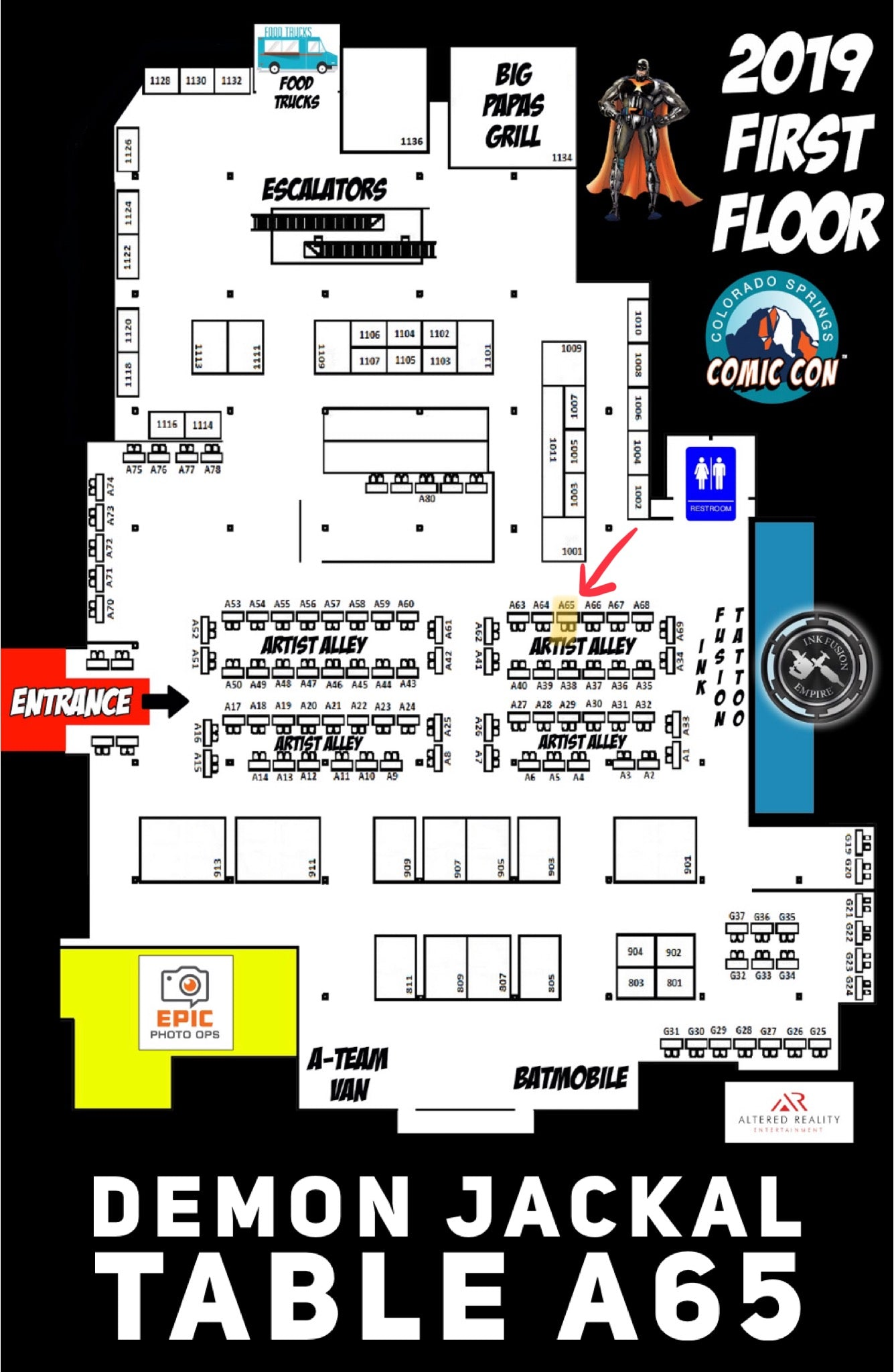 Colorado Springs Comic Con 2019 First Floor Map