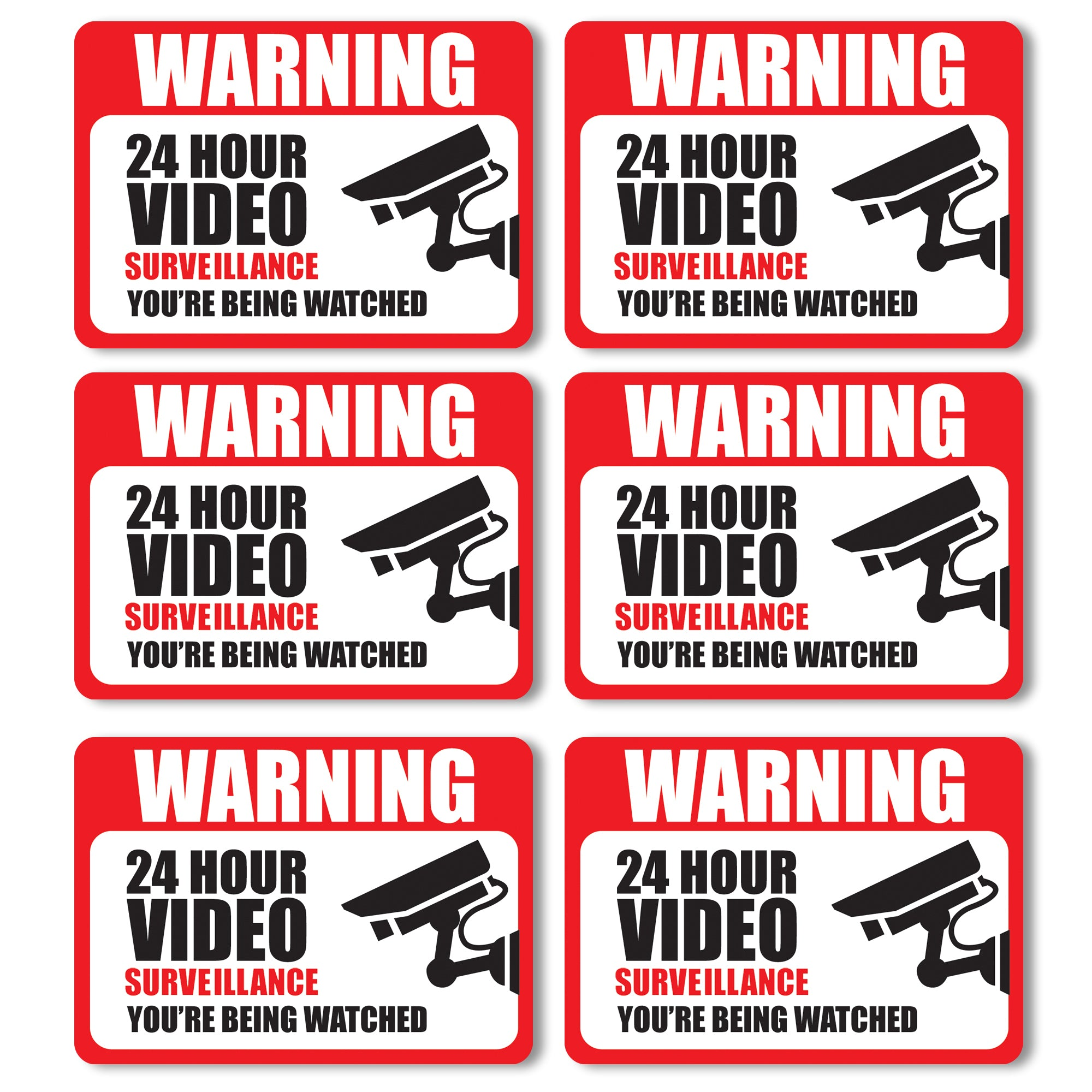Front Facing Video Surveillance Adhesive Stickers (6-Pack)