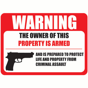 "(6 Pack) PROTECTED BY ARMED PROPERTY OWNER Sign -Self Adhesive 2½ X 3½"" 4 Mil Vinyl Decal"