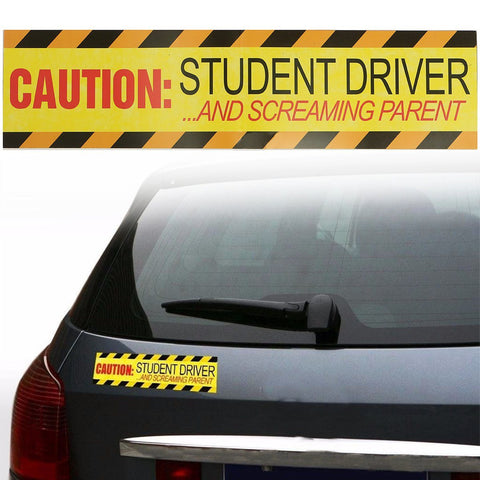 30 x 7.5cm Yellow Caution Student Driver & Screaming Parent Car Magnetic Bumper Sign Safety Vinyl Sticker