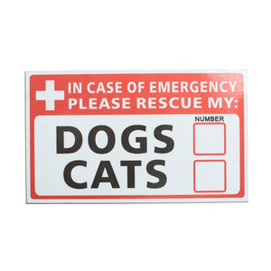Safurance  Emergency Pet Rescue DOG CAT Vinyl Sticker Label Signs Safety Warning 74*125mm Security Safety