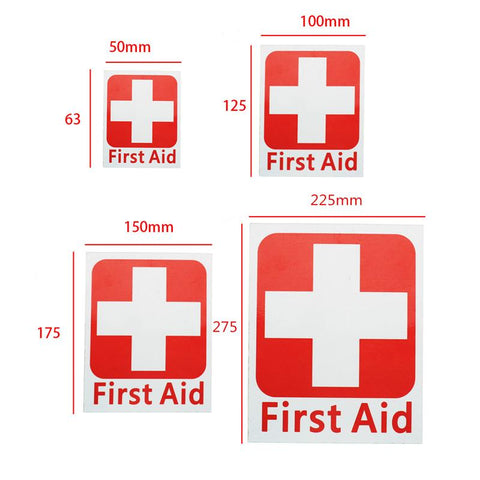 Safurance 4 Size FIRST AID Vinyl Sticker Label Waterproof Signs Red Cross Health Safety Emergency Kits Warning