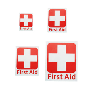 4 Size FIRST AID Vinyl Sticker Label Waterproof Signs Red Cross Health Safety White 50 x 63 /100 x 125 /150 x 175 /225 x 275mm