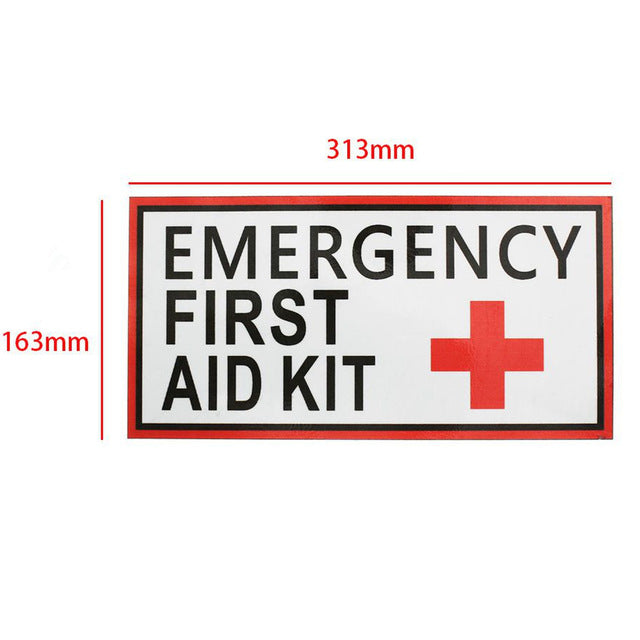 4 Size EMERGENCY FIRST AID Vinyl Sticker Label Signs Red Cross Health Safety 163x313mm 115x225mm 75x150mm 50x100mm