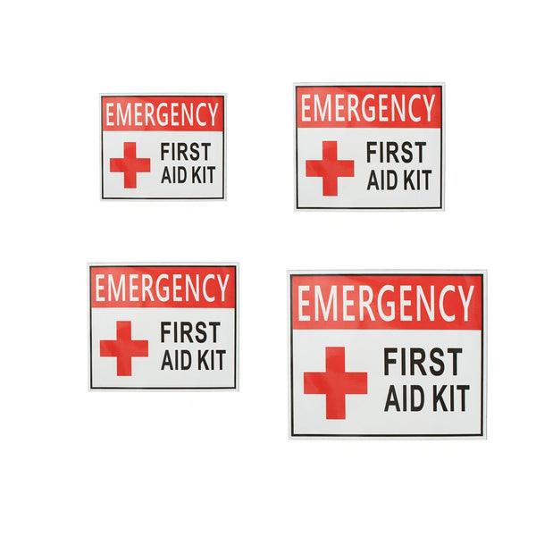 4 Size EMERGENCY FIRST AID Sticker Label Signs Red Cross Health Safety Vinyl White Red 50x63mm 100x125mm 150x175mm 225x275mm
