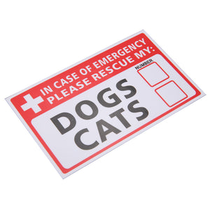 Mayitr 2Pcs Label Signs Warning Decal Emergency Pet Rescue Dog Cat Vinyl Sticker First Responder Safety Supplies