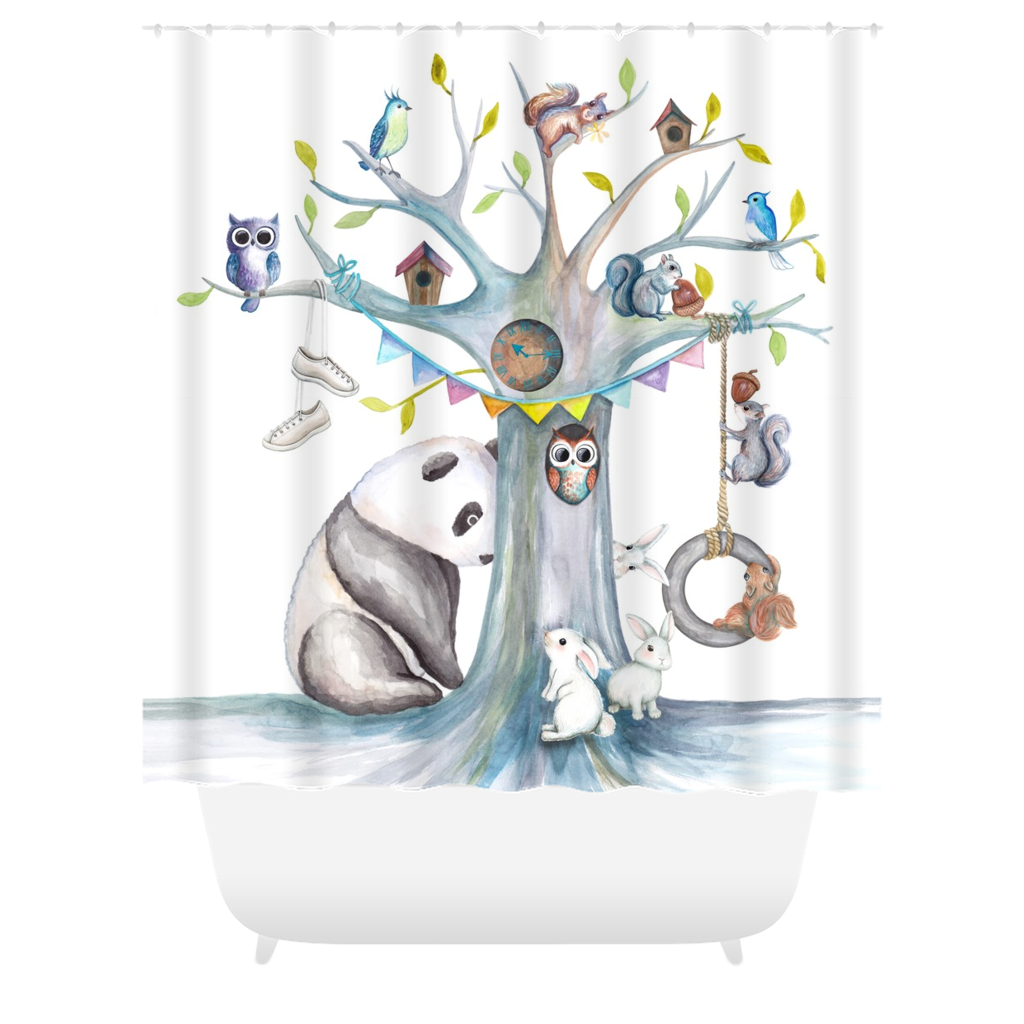 Panda Let's Play! Shower Curtains