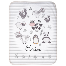 Custom Name Print - Black and White Animals - Sherpa Blankets (Infant Size)