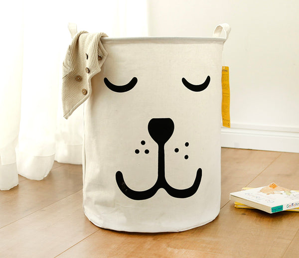 Foldable Toy Storage and Laundry Baskets - Puppy Face