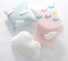 Pastel Blue Plush Pillow - Clouds and Angels