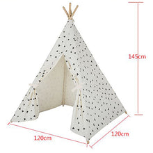 Four Poles Kids Tent Black Triangle Printed Teepee Children Play Tent Cotton Canvas Tipi for Baby Room Toy Ins Hot