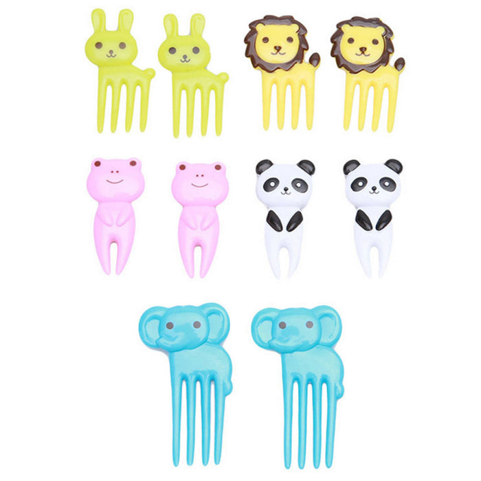 Set of 10 Animal Shaped Mini Forks