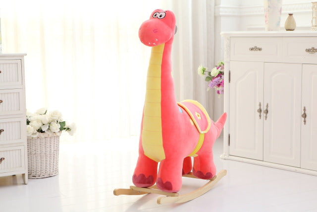 Plush Animal Rocker - Pink Dinosaur