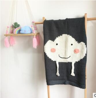 Children's Knitted Blanket - White Cloud in Grey Background