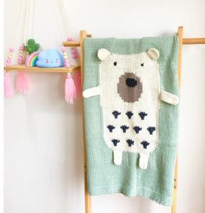 Children's Knitted Blanket - White Bear in Seafoam Background