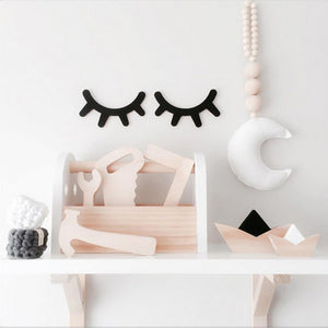 Set of Two Wood Eyelashes 3D Wall Sticker