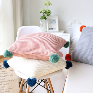 Soft Knitted Pillow Cover with PomPom Corners