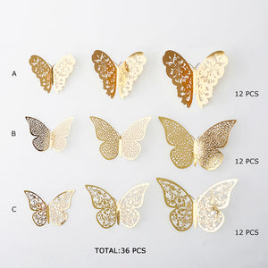 Set of 36 Butterflies in Pink, Gold or Silver