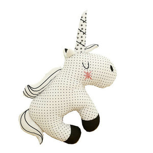 Black & White Stuffed Animal - Unicorn