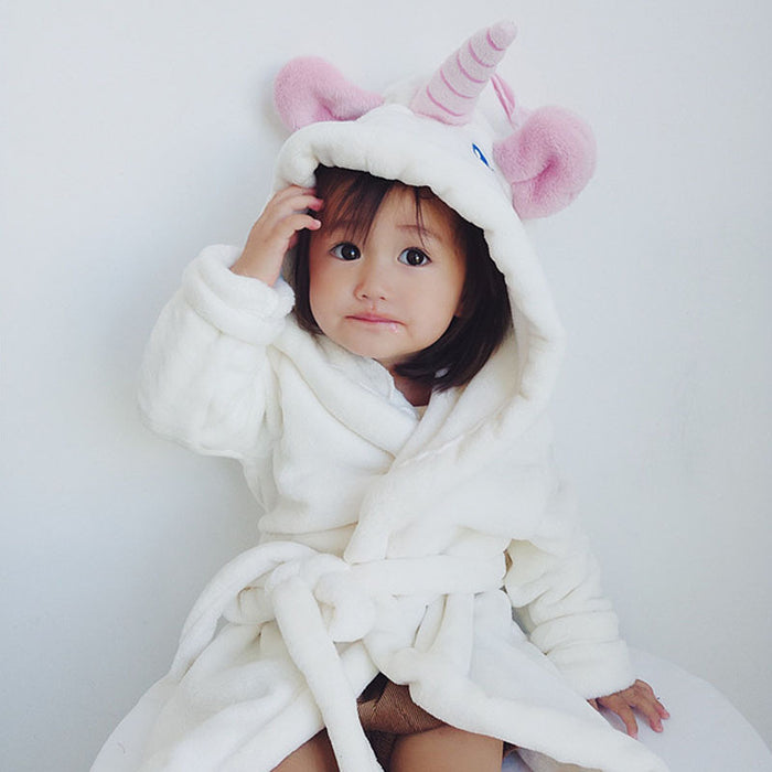 Hooded Bath Robe - Unicorn