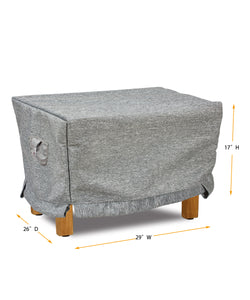 "Ottoman Cover Rectangle - 29"" W x 26"" D x 17"" H Platinum"