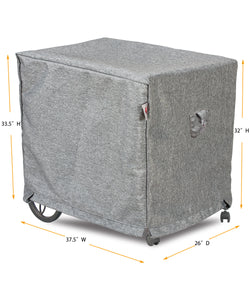 Tea Cart Cover Rectangle - 26''W x 37.5''D x 32''/33.5''H Platinum