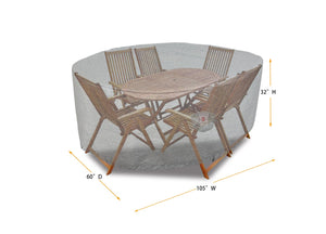 "Dining Set Cover Rectangle - 105""W x 60""D x 32""H Platinum"