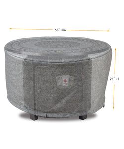 "Fire Table Cover Round - 53""Dia x 25""H Platinum"