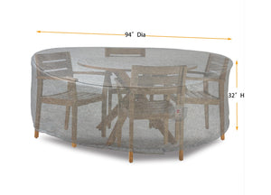 "Dining Set Cover Round - 94''Dia x 32""H Platinum"