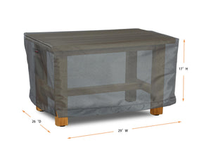 "Ottoman Cover Rectangle - 29"" W x 26"" D x 17"" H Titanium"
