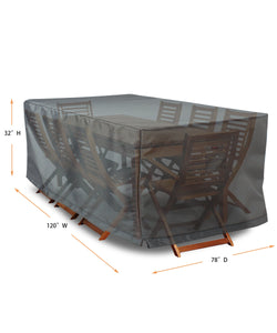 "Dining Set Cover Rectangle - 120""W x 78""D x32""H Titanium"
